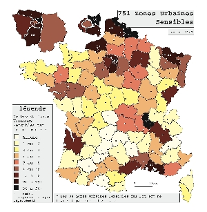 Répartition des Zones Urbaines Sensibles en France